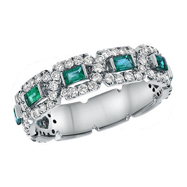 S Collection Emerald and Diamond Anniversary Ring in 14K White Gold