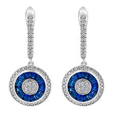 S Collection Blue Sapphire and Diamond Art Deco Earrings in 14K White Gold