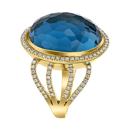 S Collection Diamond and Oval Blue Topaz Ring in 14K Yellow Gold