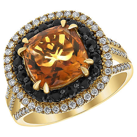 S Collection Madeira Citrine, Black Sapphire and Diamond Ring in 14K Yellow Gold