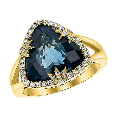 S Collection Blue Topaz and Diamond Triangular Ring in 14K Yellow Gold