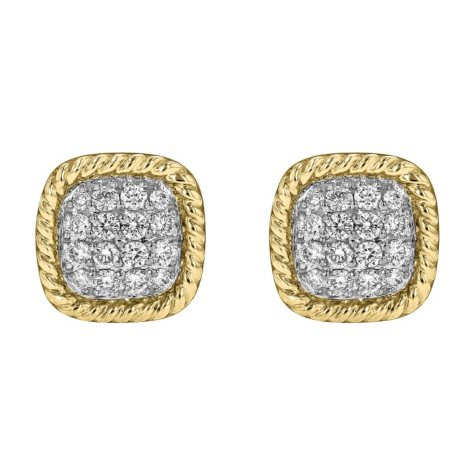 S Collection 1/4 CT. T.W. Diamond Cushion Earrings in 14K Twist Frame Yellow Gold
