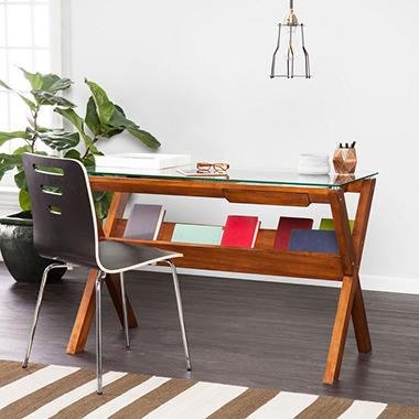 Holly and Martin Sophi Writing Desk with Glass Display Top