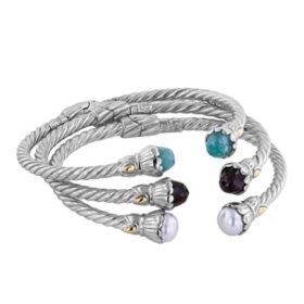 Gemstone Sterling Silver Cable Bracelet