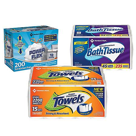 Member's Mark Premium Paper Towel, Bath Tissue, and Power Flex Tall Kitchen, Unscented