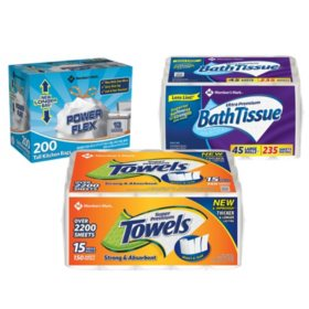 Member's Mark Premium Paper Towel, Bath Tissue, and Power Flex Tall Kitchen- Original Scent