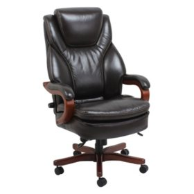 Barcalounger Executive Bonded Leather Wood Chair Supports Up To 350 Lbs