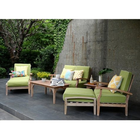 7-Piece Teak Deep Seating Set with Green Cushions