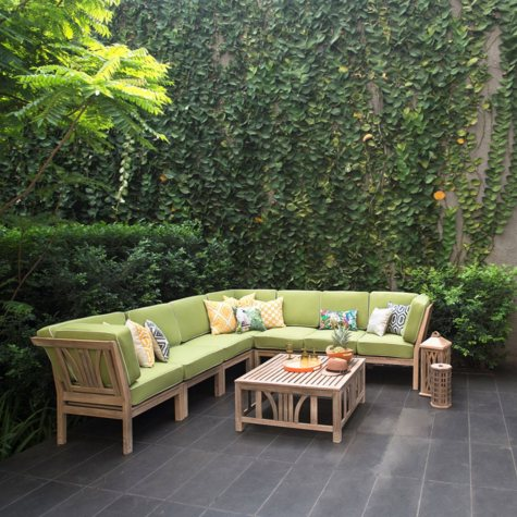 8-Piece Teak Sectional Set with Green Cushions