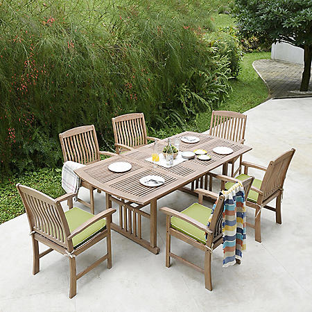 Sonoma Teak 7-Piece Dining Set with Green Cushions