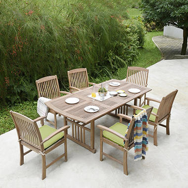 7 Piece Teak Dining Set With Green Cushions Sam S Club