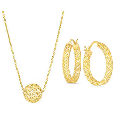 Hoop Earrings Ball Necklace Filigree Set In 14k Yellow Gold