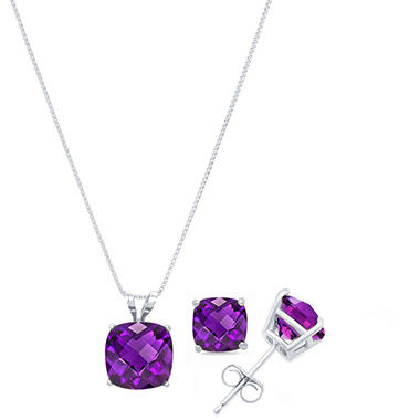 3.9 ct. t.w. Cushion Cut Amethyst Pendant Necklace & Stud Earrings Set in 14k Gold