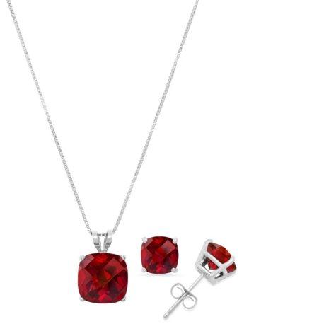 4.2 ct. t.w. Cushion Cut Garnet Pendant Necklace & Stud Earrings Set in 14K Gold