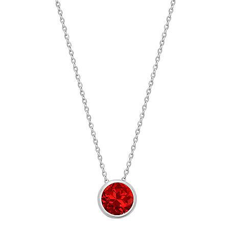 Bezel-Set Genuine Ruby Pendant Necklace in 14K Gold