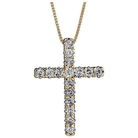 0.23 CT. T.W. Diamond Cross Pendant in 14K Yellow Gold
