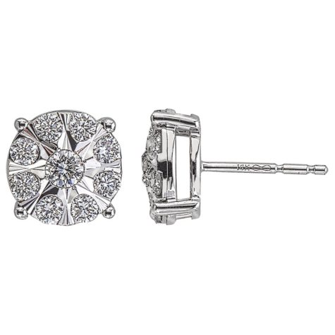 0.72 CT. T.W. Diamond Earrings in 14K White Gold