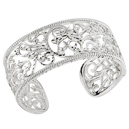 Scroll Design Cuff Bracelet in Sterling Silver
