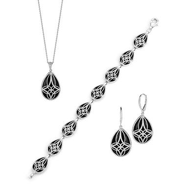 Sterling Silver Black Onyx Earring Pendant And Bracelet Set
