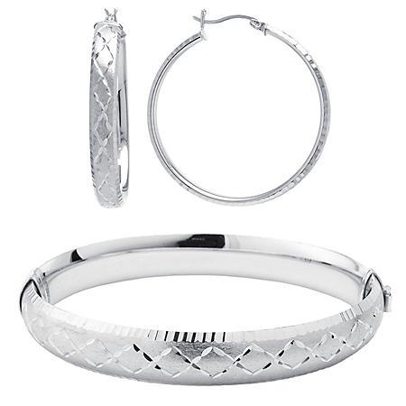 Sterling Silver Diamond Cut Bangle & Hoop Earring Set