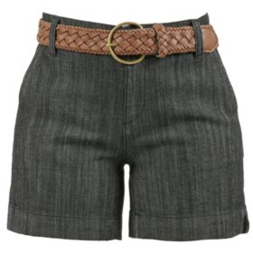 One 5 One Women's Basic Trouser Shorts with Vintage Belt