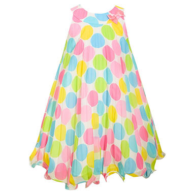 Jessica Ann Colorful Pastel Dot Crystal Pleated Dress
