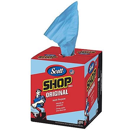 """Scott Shop Towels for Pop-Up Dispenser Box, Blue, 10"""" x 12"""" (Choose Your Count)"""