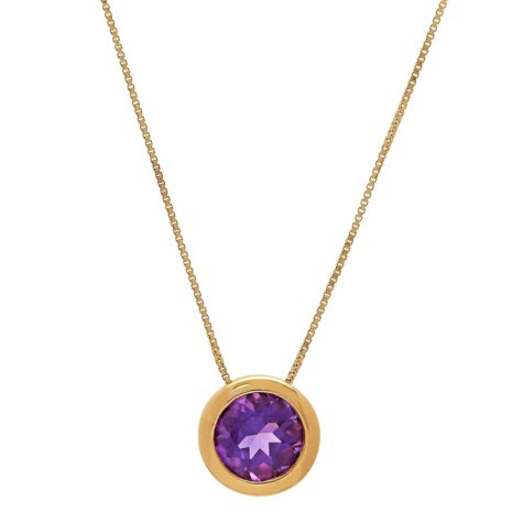 Amethyst Bezel Pendant in 14K Yellow Gold