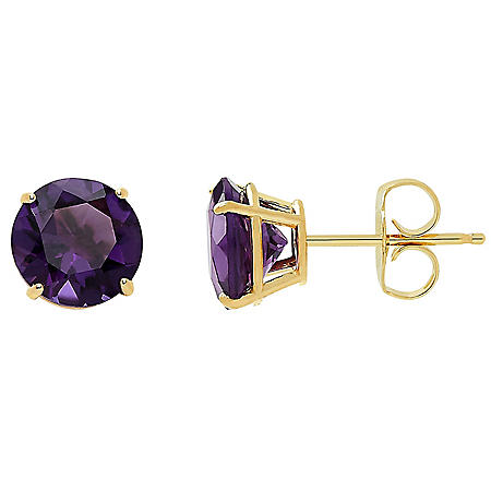 7MM Birthstone Stud Earrings in 14K Yellow Gold