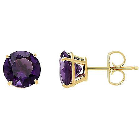 7MM Birthstone Stud Earrings in 14K Yellow Gold