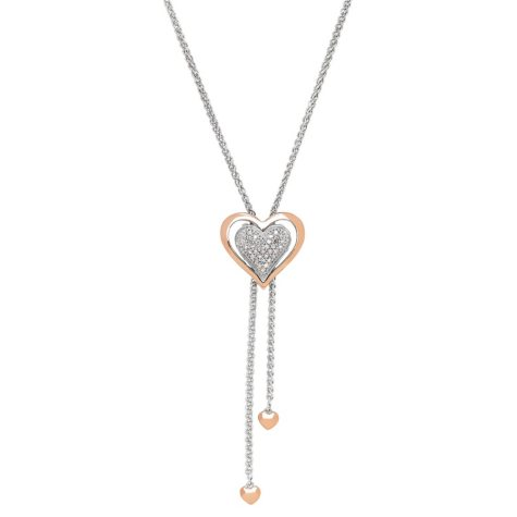 Heart Bolo Necklace with Diamond Accent in Sterling Silver and 14K Rose Gold