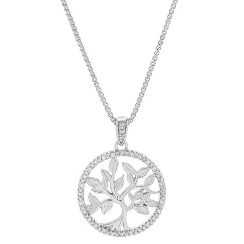 Tree of Life 0.09 CT. T.W. Diamond Accent Pendant in Sterling Silver