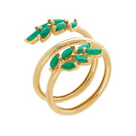 Emerald Leaf Ring in 14K Yellow Gold