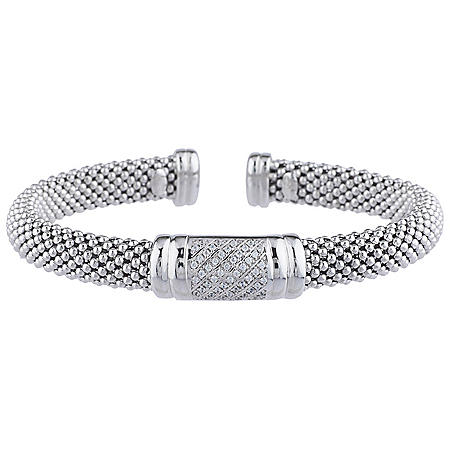 0.19 CT. T.W. Diamond Bar Station Bangle in Italian Sterling Silver (H-I, I1)