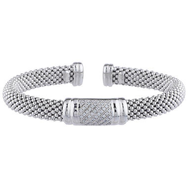 0 19 Ct T W Diamond Bar Station Bangle In Italian Sterling Silver