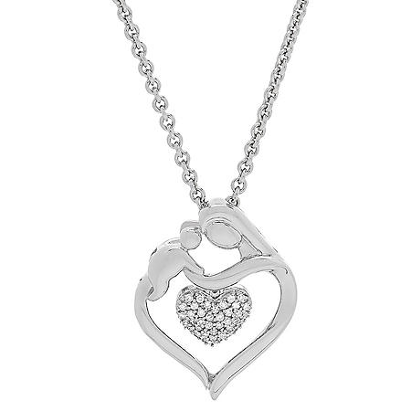 Mother and Child 0.12 CT. T.W. Diamond Accent Pendant in Sterling Silver