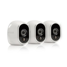 Arlo Smart Home Security System with 3 HD 100% Wire-Free Cameras and Night Vision