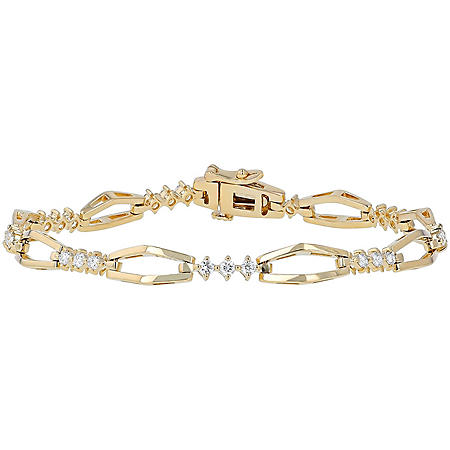 S Collection 0.75 CT. T.W. Modern Diamond Open Link Bracelet in 14K Yellow Gold