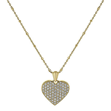 S Collection 1 CT. T.W. Puffed Pave Style Diamond Heart Pendant in 14K Yellow Gold