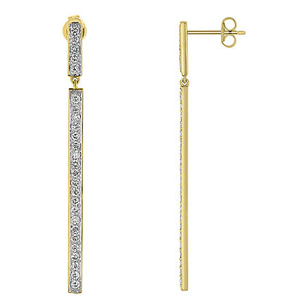 S Collection 1 CT. T.W. Diamond Drop Bar Earrings in 14K Yellow Gold