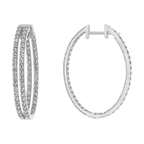 S Collection 2 CT. T.W. Double Row Inside-Out Diamond Hinged Hoop Earrings in 14K Gold