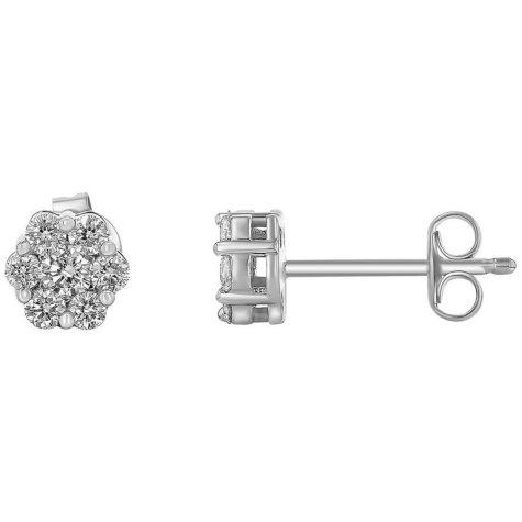 0.50 CT. T.W. Diamond Flower Cluster Earrings in 14K White Gold