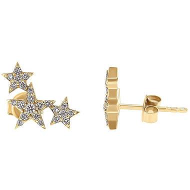 0 25 Ct T W Triple Star Earrings In 14k Gold Sam S Club