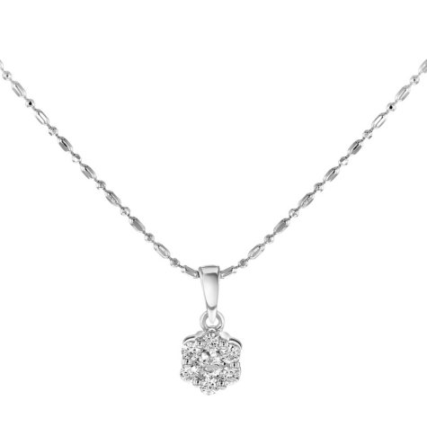 0.25 CT. T.W. Diamond Flower Cluster Pendant in 14K White Gold