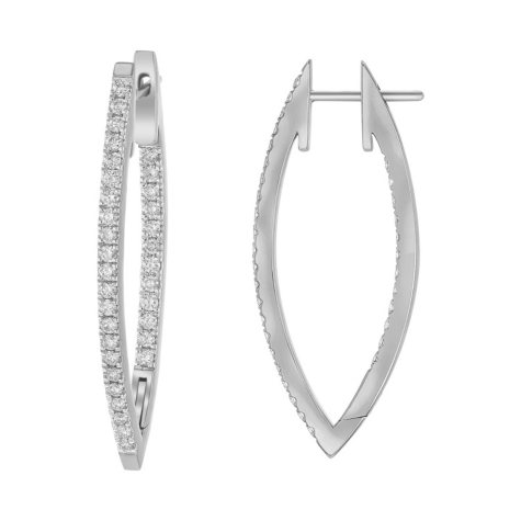 S Collection 1 CT. T.W. V Shape Hoop Earrings in 14K Gold