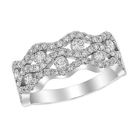 S Collection 1 CT. T.W. Wavy Multi-Row Diamond Band in 14K White Gold
