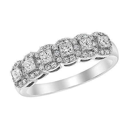 S Collection 3/4 CT. T.W. Semi-Eternity Princess Cut Diamond Ring in 14K White Gold