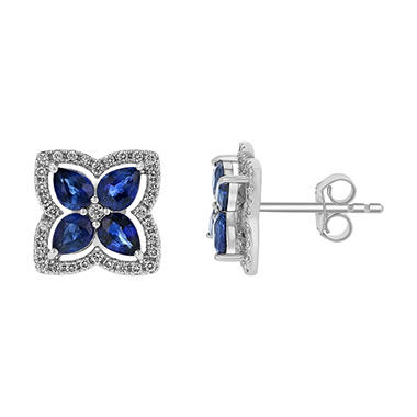 S Collection Blue Sapphire and Diamond Flower Shaped Earrings in 14K White Gold