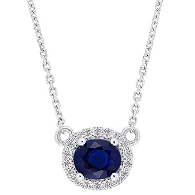 1 CT. Sapphire and 0.10 CT. T.W. Diamond Halo Necklace in 14k White Gold