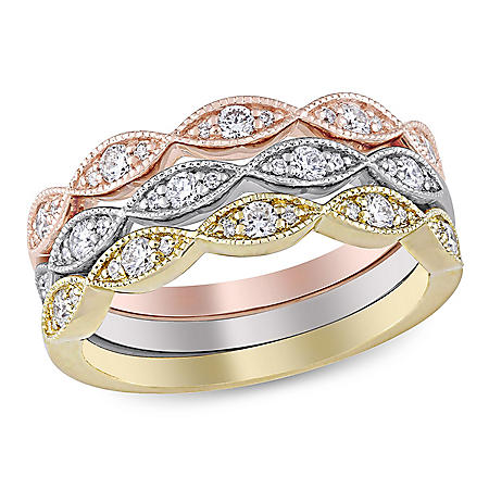 0.50 CT. T.W. Diamond Set of 3 Stacking Bands in 14k White, Yellow, and Rose Gold